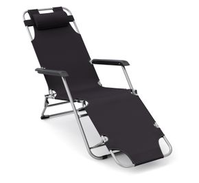 Liegestuhl Campingstuhl schwarz