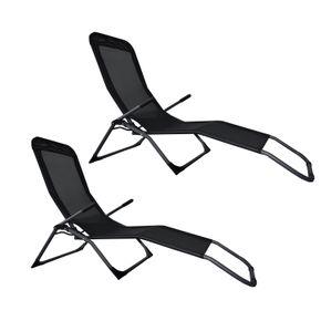 Chaise longue pack double noir