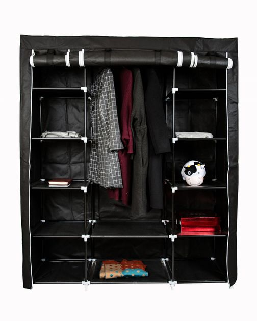 armoire de rangement en tissu noir magasin en ligne gonser. Black Bedroom Furniture Sets. Home Design Ideas