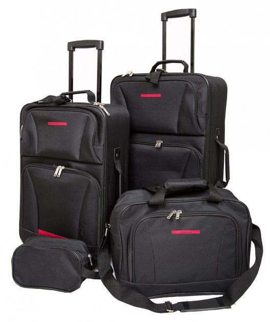 Reisekoffer Polyester 4er SET schwarz