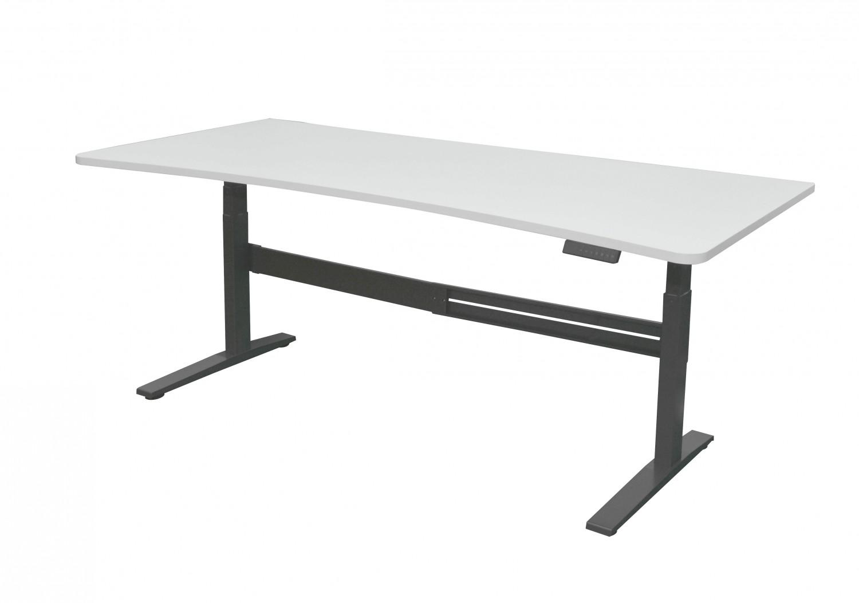 bureau r glable en hauteur blanc gris magasin en ligne gonser. Black Bedroom Furniture Sets. Home Design Ideas