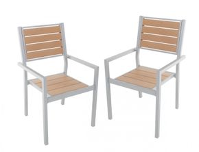 Chaise de jardin en pack double brun