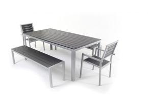 Gartenmöbel Tisch 200 cm + 2 Stühle + 2 Bänke anthrazit