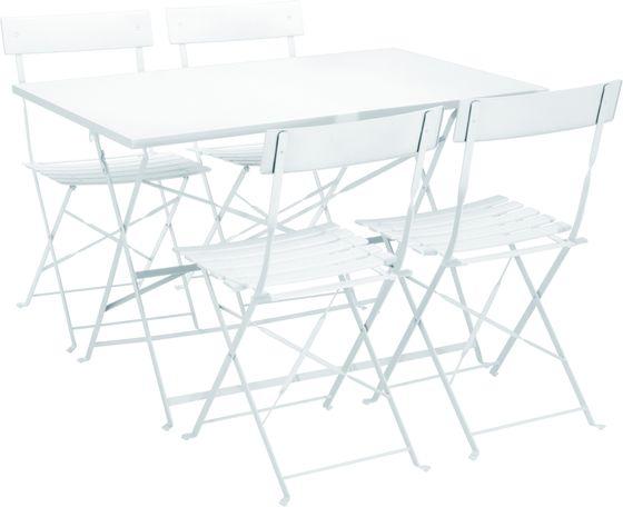 Balkontisch gross mit 4 Stühlen weiss