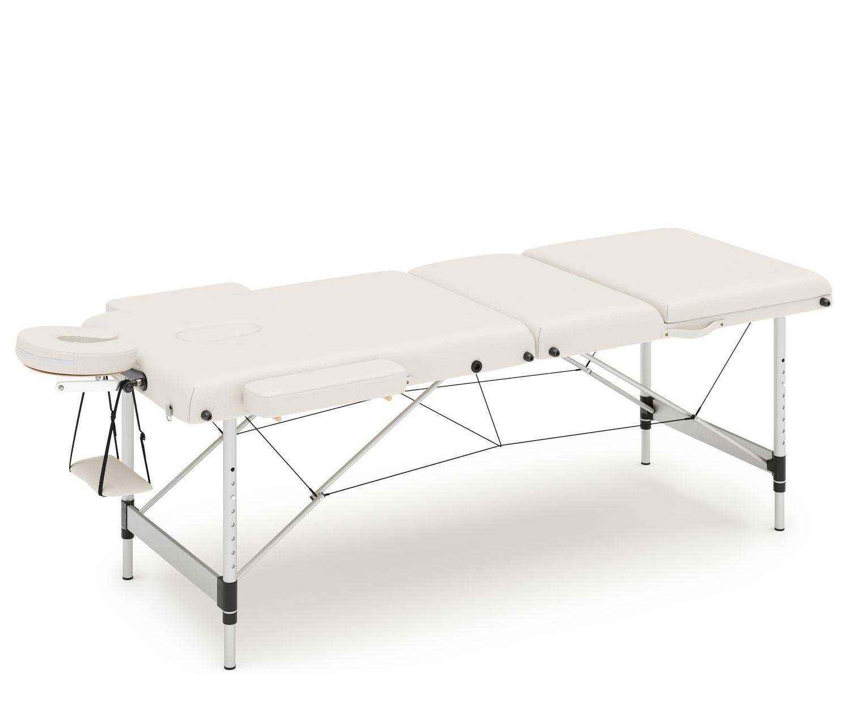 Massageliege 3-Zonen mit Alubeinen weiss