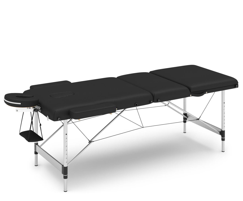Massageliege 3-Zonen Alu schwarz