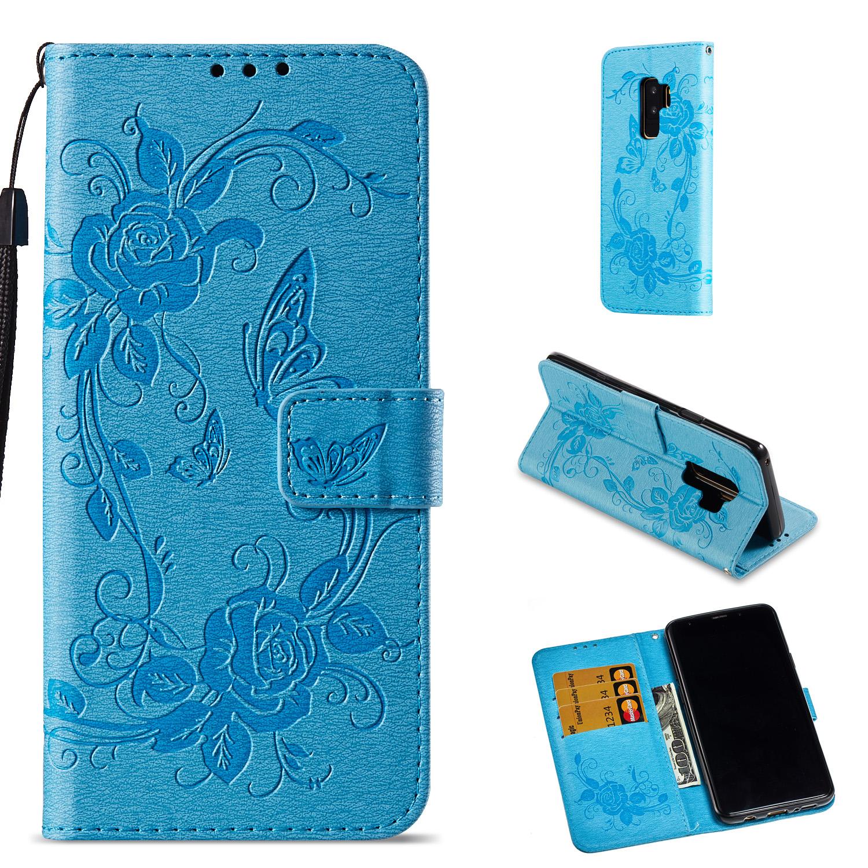 Lederetui Blumen blau für Samsung Galaxy S9 Plus