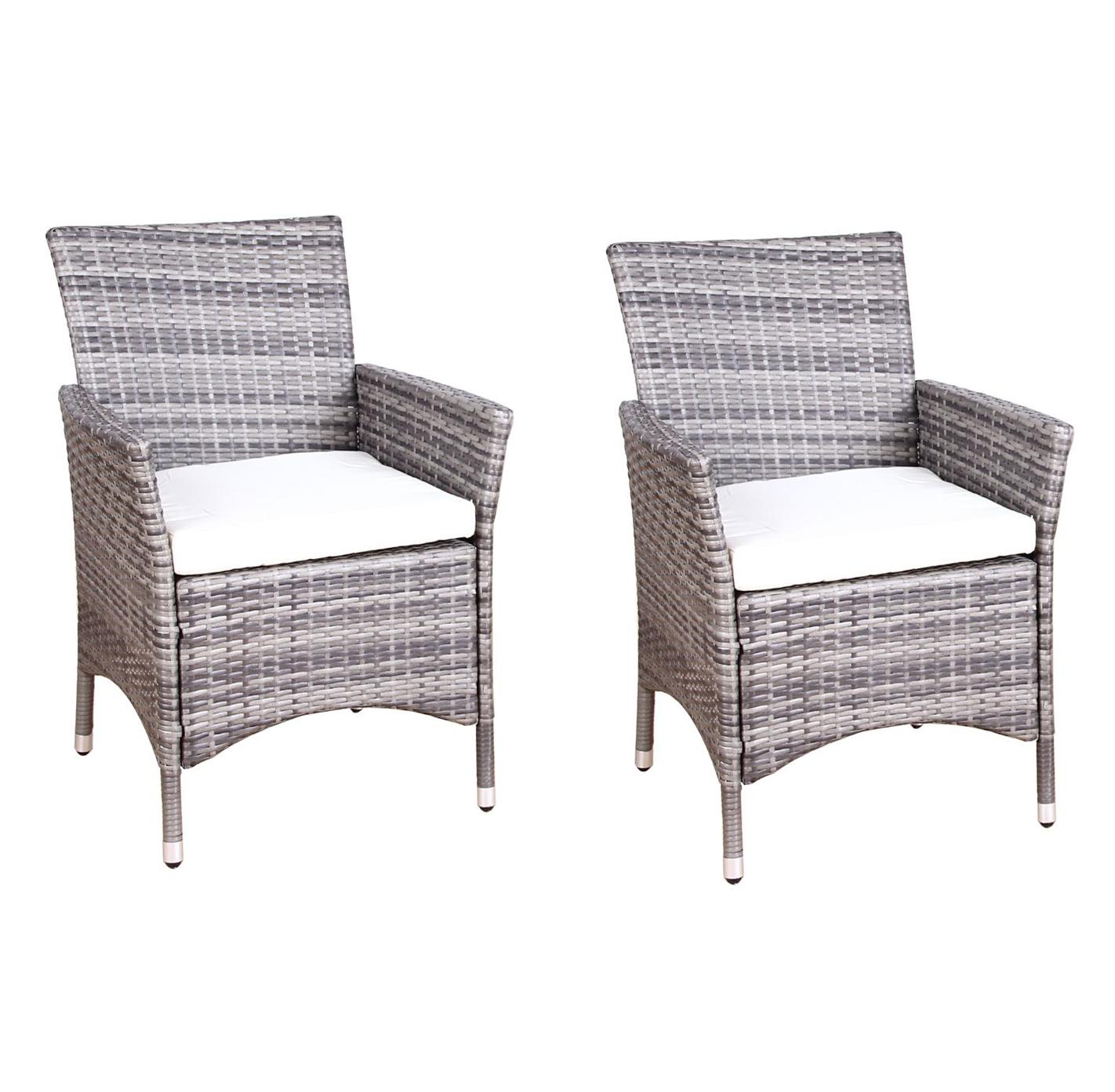 Rattan Stühle im Doppelpack grau