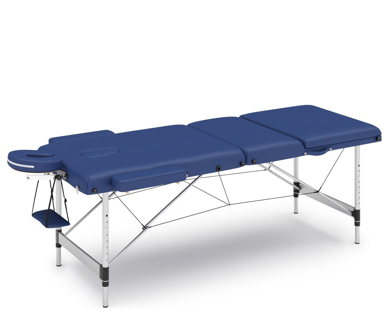 Massageliege 3-Zonen Alu blau