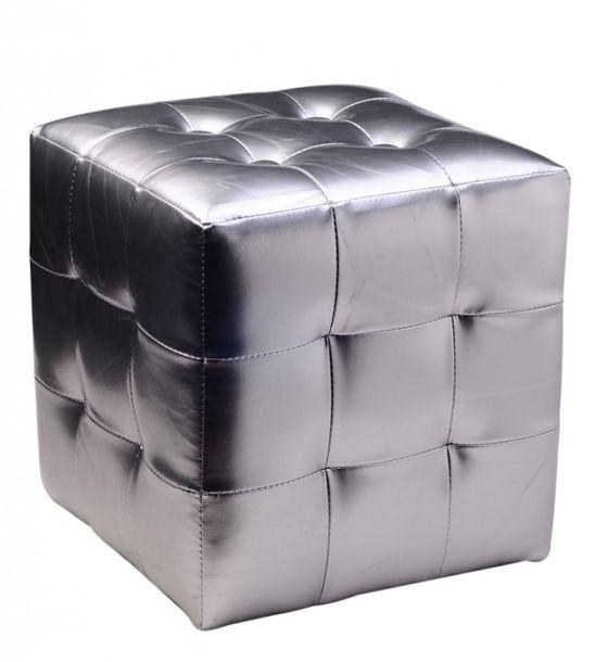 Design pouf / tiroir de rangement argent