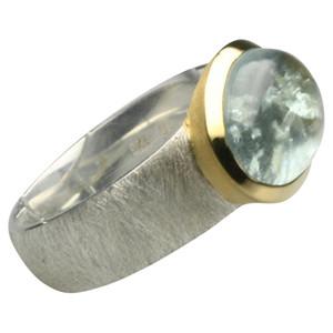 Teilvergoldeter Ring mit bildschönem Aquamarin aus Silber 925 – Bild 2