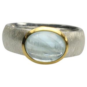 Teilvergoldeter 925er Silberring mit Aquamarin Cabochon – Bild 3