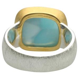 Teilvergoldeter 925er Silberring mit großem Larimar – Bild 4