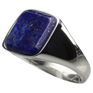 Feiner Siegelring aus Edelstahl mit Lapis Lazuli – Bild 1