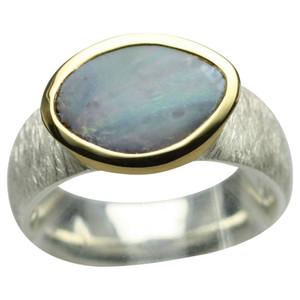 Teilvergoldeter 925er Silberring mit großem Opal – Bild 1
