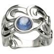 Filigraner 925 Silberring mit blauem Disthen 001
