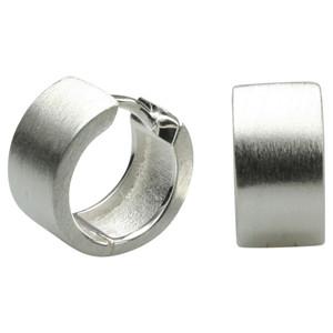 Mattierte Klappcreolen aus 925er Silber 7,4mm breit – Bild 1