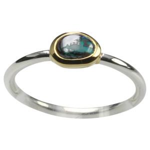 Feiner teilvergoldeter 925er Silberring mit Opal – Bild 1