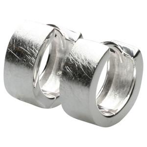 Edle gebürstete Klappcreolen aus 925er Silber – Bild 1