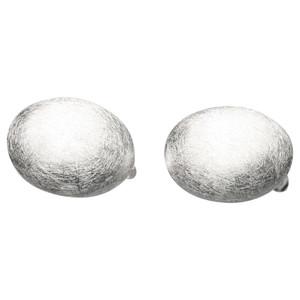 Runde Ohrclips aus gebürstetem 925er Silber – Bild 1