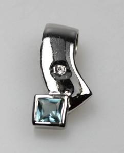 Edler 925er Silberanhänger mit türkisfarbenen Zirkonia – Bild 1