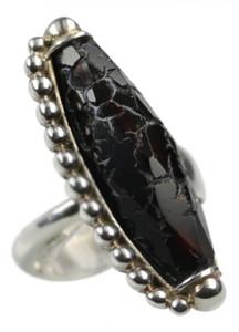 Bildschöner 925er Silberring mit schwarzen Achat – Bild 1