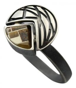 Feiner Designerring aus 925er Silber mit Bernstein Mosaik – Bild 1