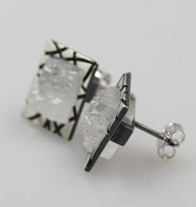 Besondere 925er Silberohrstecker mit Bergkristall – Bild 2
