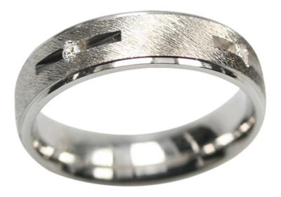 Feiner mattierter 925er Silberring mit Zirkonia (Nr 003) – Bild 1