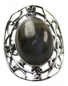 Feiner filigraner 925er Silberring mit Labradorit – Bild 1