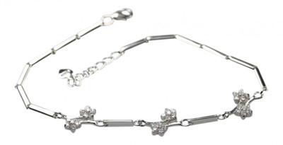 Feines 925er Silberarmband mit Zirkonia Blüten – Bild 1