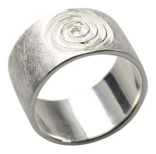 Gebürsteter 925er Silberring im Spiraldesign – Bild 1