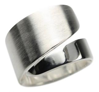 Eleganter breiter teilmattierter 925er Silberring – Bild 1