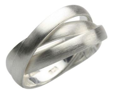 Edler mattierter 3er 925er Silberring – Bild 1