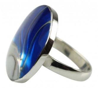 Blauer 925er Silberring mit Muschel und Acryl – Bild 1