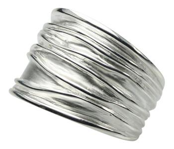 Breiter teilmattierter 925er Silberring – Bild 1
