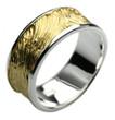 Fein strukturierter teilvergoldeter 925er Silberring 001