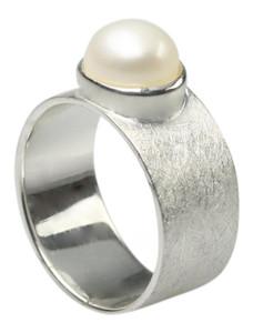 Edler gebürsteter 925er Silberring mit Perle – Bild 1