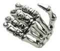 Breiter 925er Silberring Motiv Skelett Hand 001