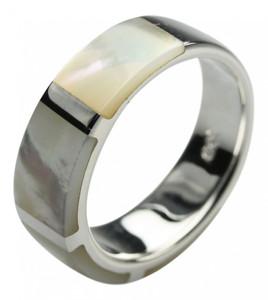 Polierter 925er Silberring mit Perlmutt – Bild 1