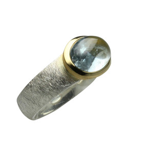 Aussergewöhnlicher teilvergoldeter 925er Silberring mit Aquamarin – Bild 4
