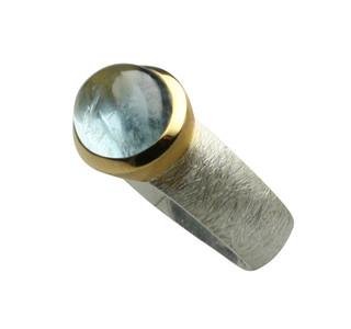 Aussergewöhnlicher teilvergoldeter 925er Silberring mit Aquamarin – Bild 2