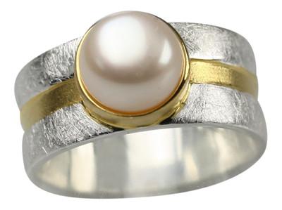 Edler teilvergoldeter 925er Silberring mit Perle – Bild 1