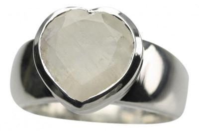 925er Silberring mit Mondstein Herzen – Bild 1