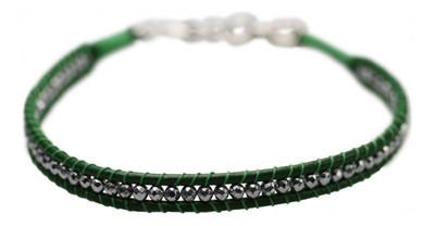 Grünes Lederarmband mit Hämatit und 925er Silber – Bild 1