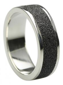 Edler Bandring aus 925er Silber mit Lava – Bild 1