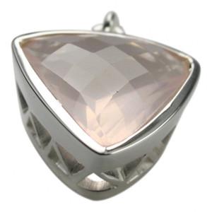 925er Silberanhänger mit facettiertem Rosenquarz – Bild 2