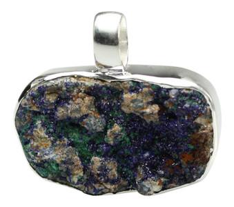 925er Silberanhänger mit  zauberhaften Azurit Kristallrasen – Bild 1
