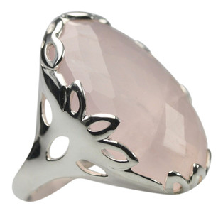 Verspielter 925er Silberring mit großem Rosenquarz – Bild 2