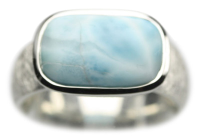 Gebüsteter 925er Silberring mit Larimar – Bild 1